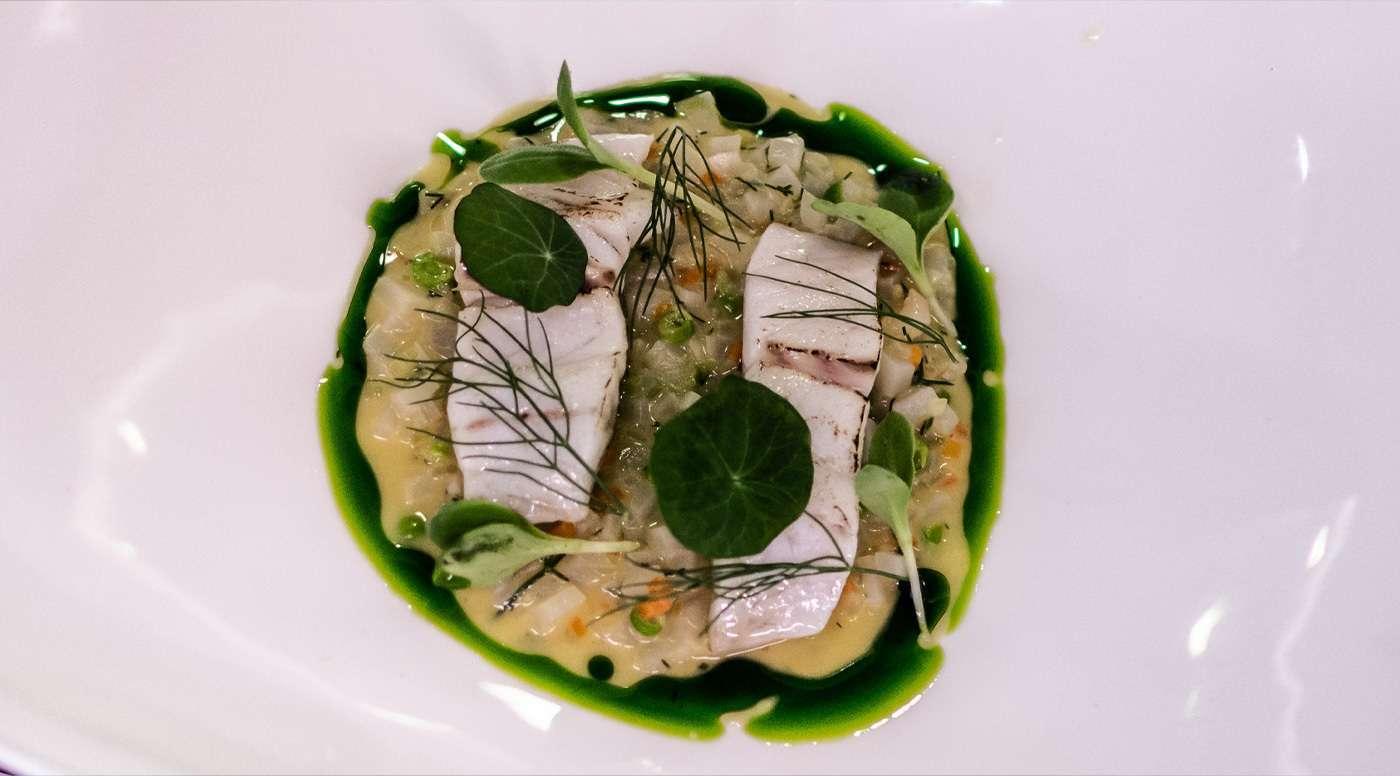 Ριζότο με ψάρι κρανιό και αγκινάρα