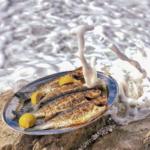 Ψητά ψάρια Fish from Greece με φόντο τη θάλασσα